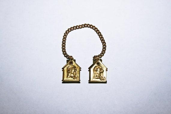 Antique Brass Dog House Cloak Clips - image 1