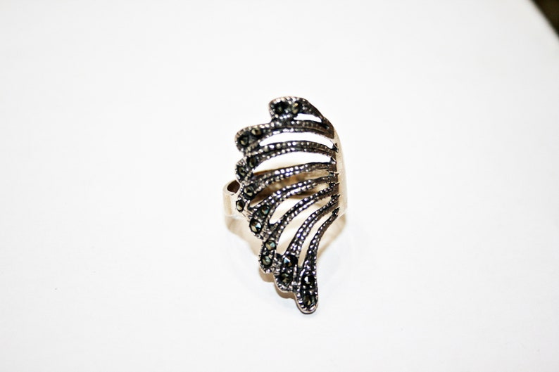 Art Deco Revival Marcasite Sterling Silver Ring Size 8