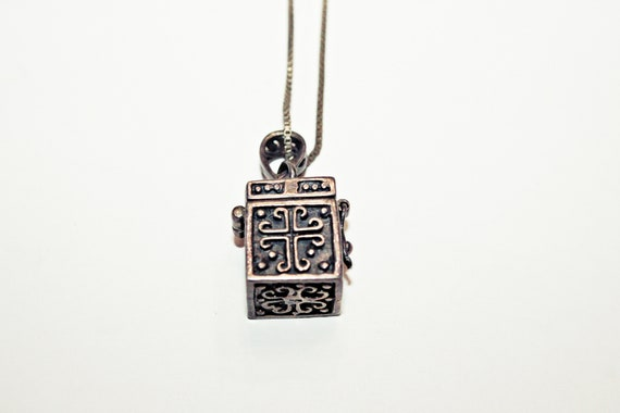 Vintage Sterling Silver Mini Prayer Box Pendant Necklace on Sterling Chain