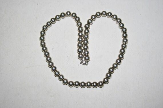 Vintage Sterling Silver Modernist Beaded Necklace