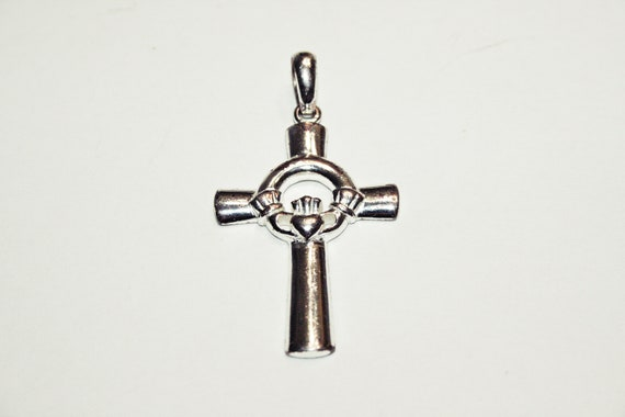 Sterling Silver Antiqued Claddagh Cross Charm