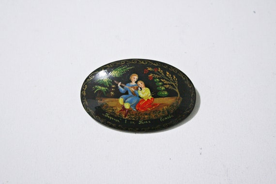 Vintage Russian Lacquer Brooch - Fairytale - Tumba