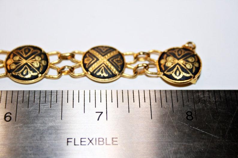 Vintage Damascene Panel Bracelet with Gold Plated Bezels