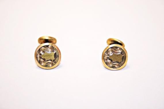 VICTORIAN Antique 1800s 14k Karat Gold CARNELIAN Hardstone Cabochon French Link Vintage CUFFLINKS Cuff Links Neoclassic Fashion Jewelry