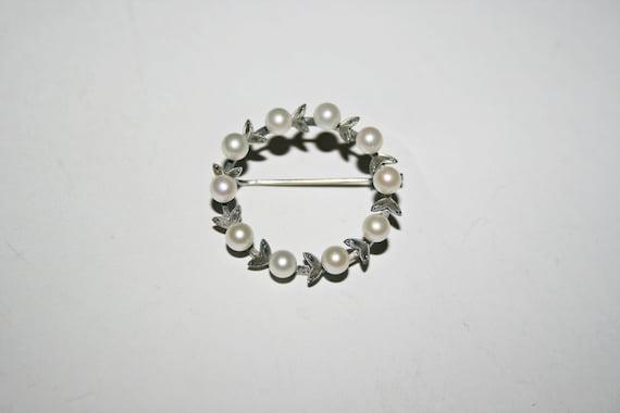 Vintage Sterling Silver Pearl Brooch - image 3