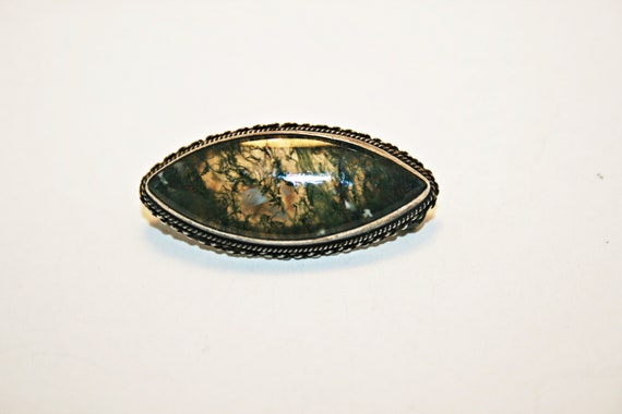 Antique Victorian Scottish Moss Agate Brooch