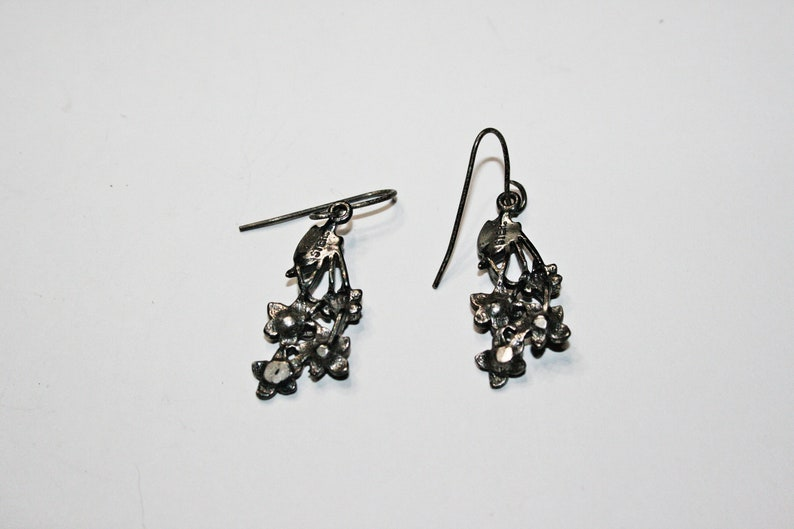 Vintage Sterling Silver Floral Drop Earrings
