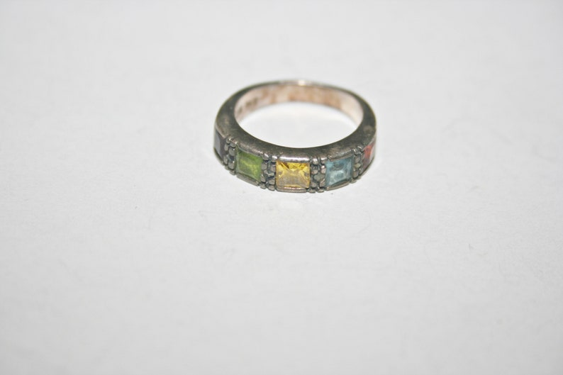 Size 5.5 Vintage Sterling Silver Multicolored Jeweled Gemstone Ring