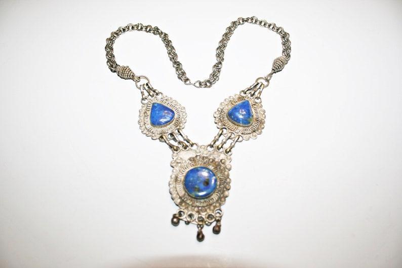 Vintage Middle Eastern Lapis Lazuli Stone Necklace