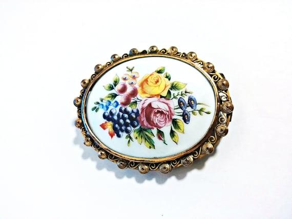 Large antique Limoges Porcelain Flower Brooch - Ci