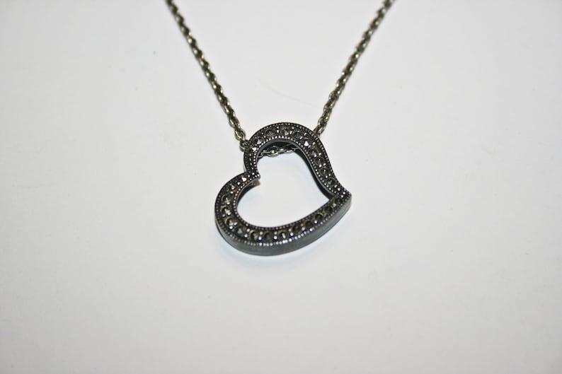 Vintage Sterling Silver Marcasite Heart Pendant Necklace