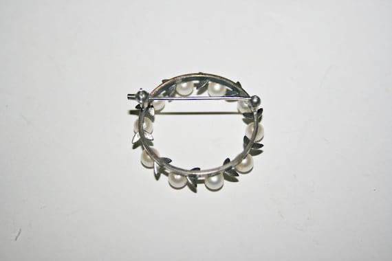 Vintage Sterling Silver Pearl Brooch - image 4