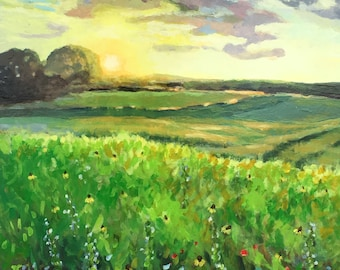 Wisconsin Summer Original Acrylic Painting on Board