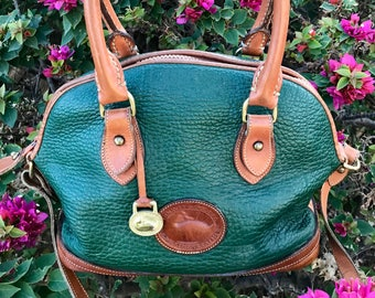 Vintage Green Dooney & Bourke All Weather Leather Handle Bag