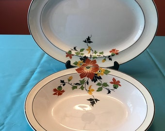 "Homer Laughlin  ""Wells"" line.  Clematis, sometimes called Red Beauty. Serving set.  W8523"