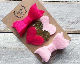 Valentines Day Bow Set, Felt Valentines Day Bow Clips, Valentines Day Baby Bows, Felt Bows, Heart Hair Clip, Heart Hair Bow