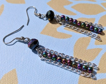 Dust Tail Earrings - Cosmic Dangle Earrings Chain Galaxy Comet Jewelry Celestial Gift For Her
