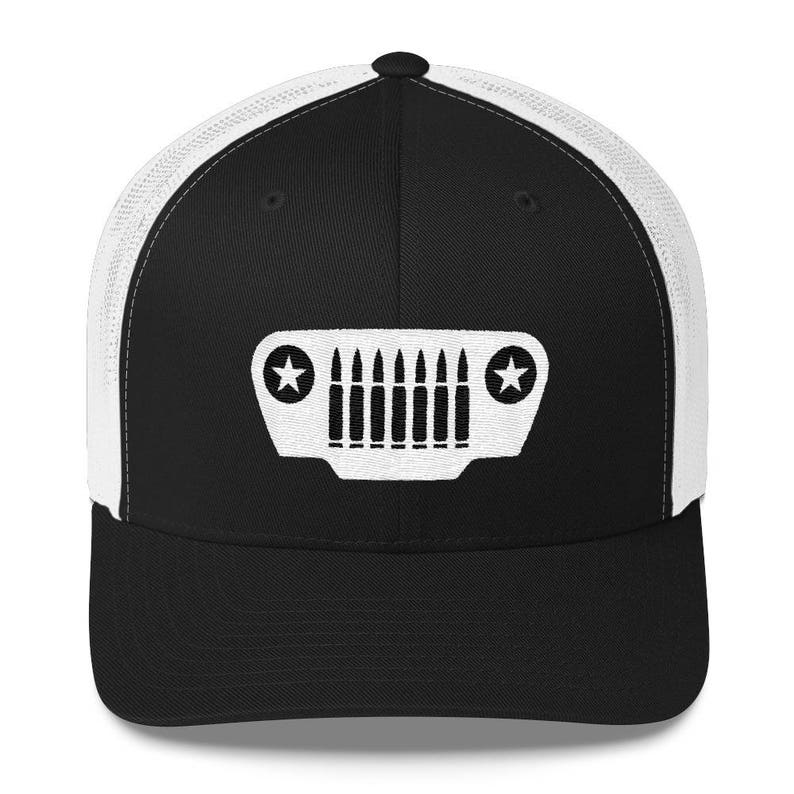 1860e00fbe273 Embroidered Jeep Bullet Grille Trucker Retro Hat