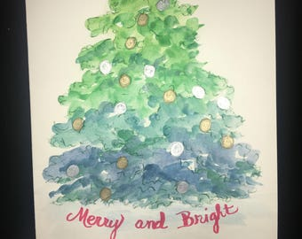 Ombre Christmas tree with ornaments - hand crafted cards, set of 8 cards with envelopes