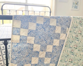 Handquilted Blue and White Irish Chain Throw Quilt