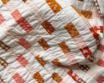 Pink and Rust Iris Quilt