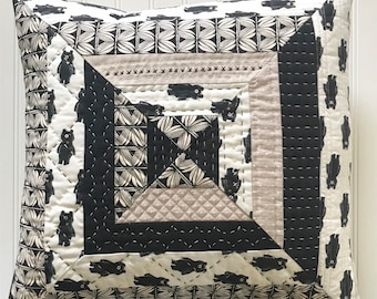 Neutral Handquilted Throw Pillow Cover