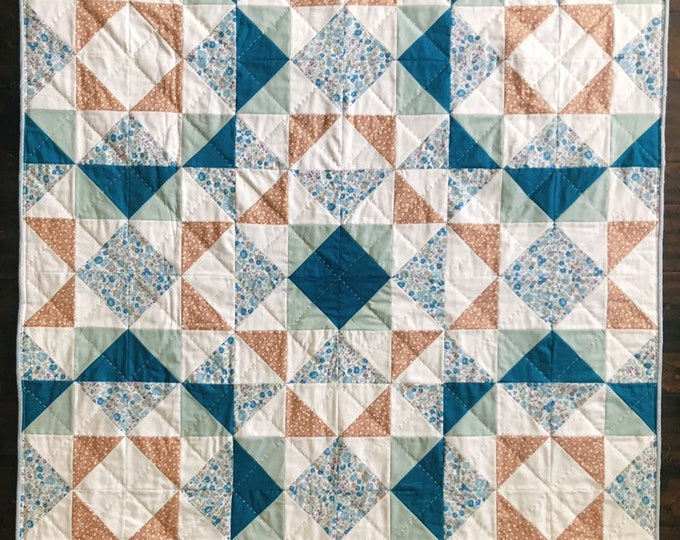 """Featured listing image: Handquilted Floral Baby//Toddler//Kid Quilt, 48""""x48"""""""
