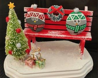 hand Painted snow birds Christmas decoration Park Bench Christmas scene