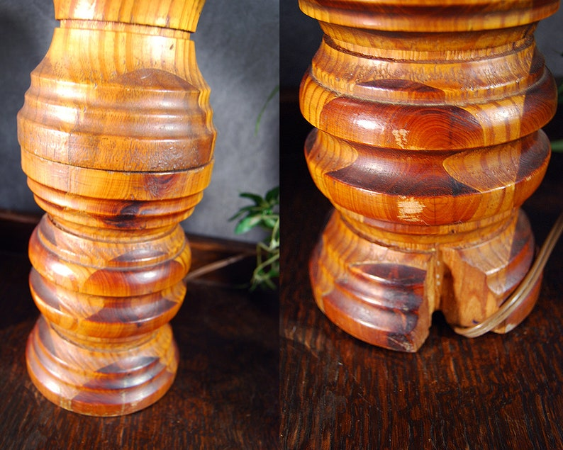 Mid Century Table Lamp Vintage Boho Turned Wood and Wicker Lamp Rattan Cane Lamp Shade
