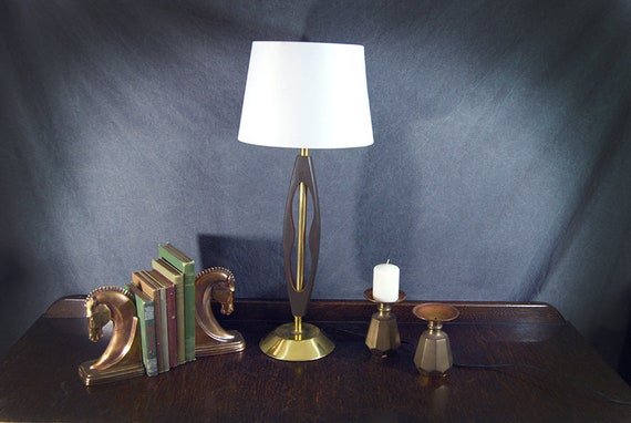 Danish Modern Lamp Mid Century Modern Table Lamp Teak Wood And Etsy