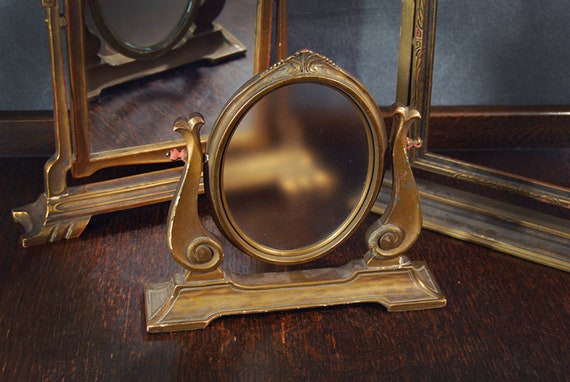 Antique Swivel Picture Frame Oval Ornate Gilt Wooden