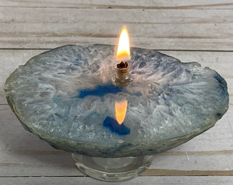 Blue agate slab, Rock oil candle, rock oil lamp | dyed agate geode, agate stone lamp, crystal oil candle, accent lamp, rustic oil lamp