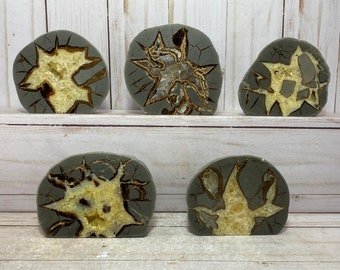 Septarian Nodule free-standing end-cut | dragon's egg, calcite crystal, calcite, aragonite stone, septarian crystal, septarian statue