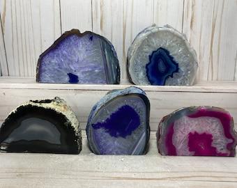 Candle holder, agate geode, rock tea light holder | agate crystal candle holder, colorful agate tea light holder, agate geode accent candle