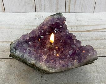Amethyst cluster, Rock oil lamp, amethyst  geode | rock oil candle, amethyst accent lamp, rustic oil candle, boho decor, modern organic