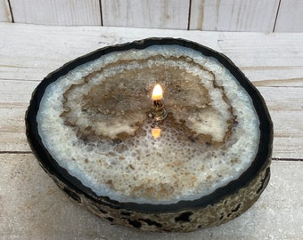 Rock oil candle, agate geode slab | agate rock oil candle, stone oil lamp, dyed agate slice, agate candle, agate crystal lamp, metaphysical