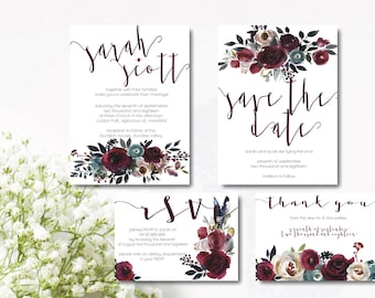 M E R L O T   S U I T E - wedding invite, save the date, RSVP card and thank you card
