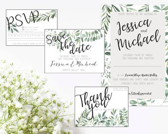 EUCALYPTUS SUITE -  Save the date card, wedding invite, RSVP card and thank you card