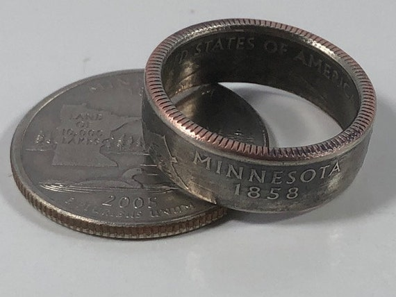 Sizes 7-14 US State Quarter Coin Ring ANY STATE