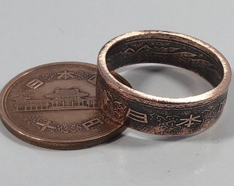 Size 5-12 Japan 10 Yuan Coin Ring - Hand Made