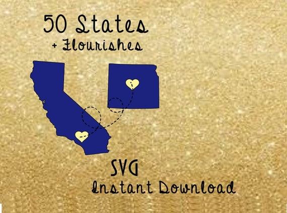 United States Map Svg - 50 State Shapes - Silhouette Cut File - Files for  Cricut - Bundle Flourishes - States Clip Art - States Vector File