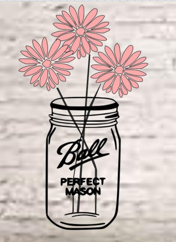 Flower Mason Jar Svg Mason Jar Clip Art Mason Jar Cut File Etsy