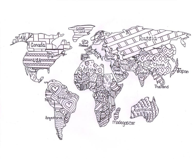 World Map Coloring Page World map coloring page printable world map Map for | Etsy