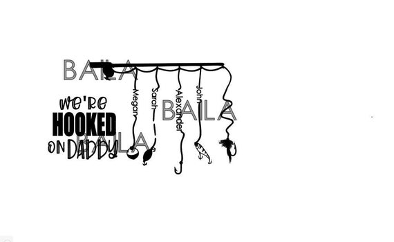 Download Hooked On Daddy Svg Fathers Day Svg Fishing Rod With Names Etsy
