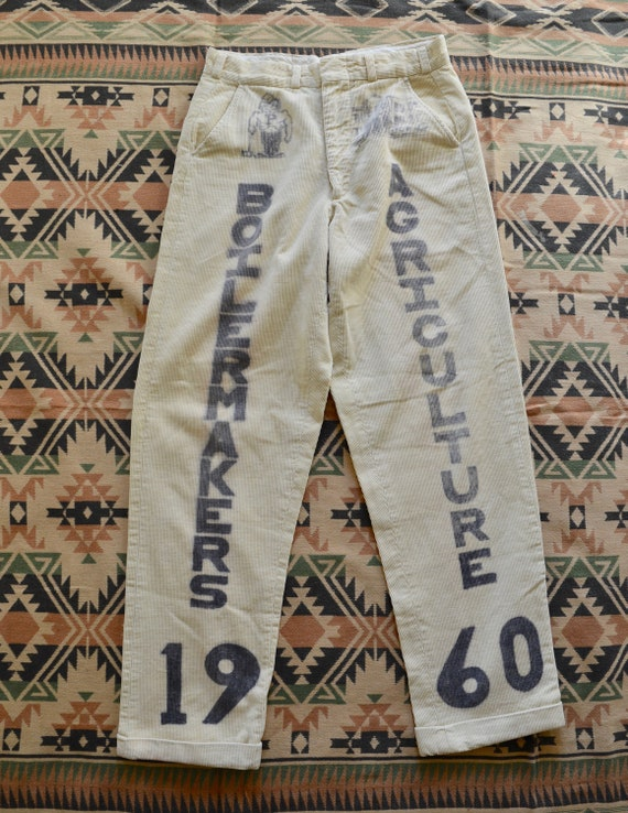 1960's Senior Cords, Purdue, Hand painted, Size 30