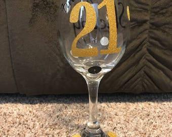 21st Birthday Personalized Wine Glass