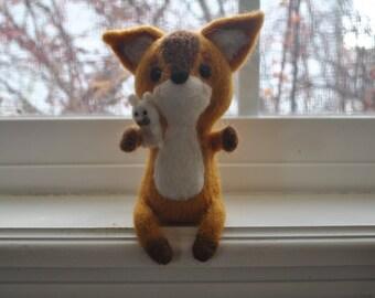Needle felted fox holding bunny OOAK