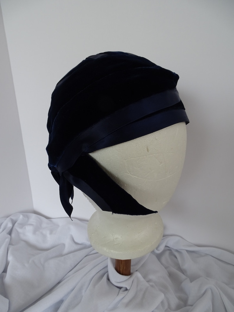 Reproduction 1920's turban hat, blue velet and blue satin ribbons