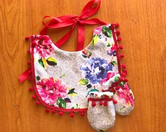 Baby girl hmong bib, mitten set, baby shower, gift, floral pom pom