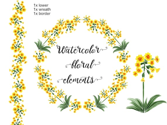 Primrose Yellow Flower Clipart Yellow Wreath Clipart Etsy